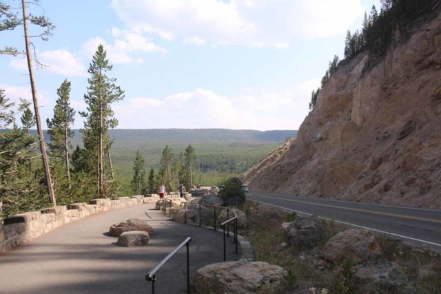 Gibbon_Falls_17_029_08102017 - The widened footpath alongside the Grand Loop Road besides Gibbon Falls. Back in 2004 when we first visited Yellowstone, it used to be that the road went right up against the railings with only a few pullouts to stop and take a look.