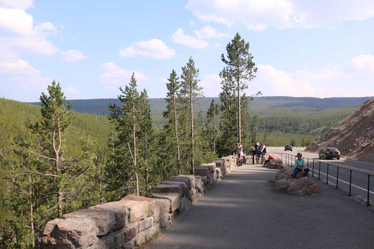 Approaching the very end of the walking and viewing area for Gibbon Falls
