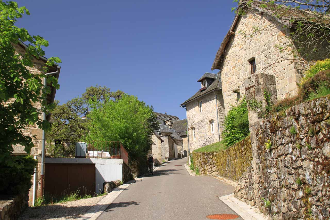 Walking back up the main road through the town of Gimel Les Cascades