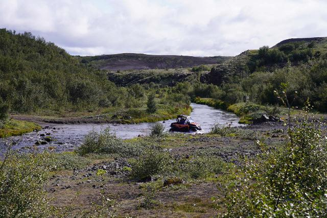 Gjain_001_08202021 - Although we saw this ATV drive across the Rauðá Stream, we didn't have to do it since there was a footbridge spanning the stream from the car park where this photo was taken on our August 2021 visit. By the way, if you continue past that turnoff, the Stangarvegur becomes a really rough and rocky 4wd road that 2wd vehicles definitely can't nor shouldn't bother with