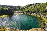 Gjain_113_08202021 - Looking down at the attractively deep pool beneath Gjarfoss as seen from its shelf