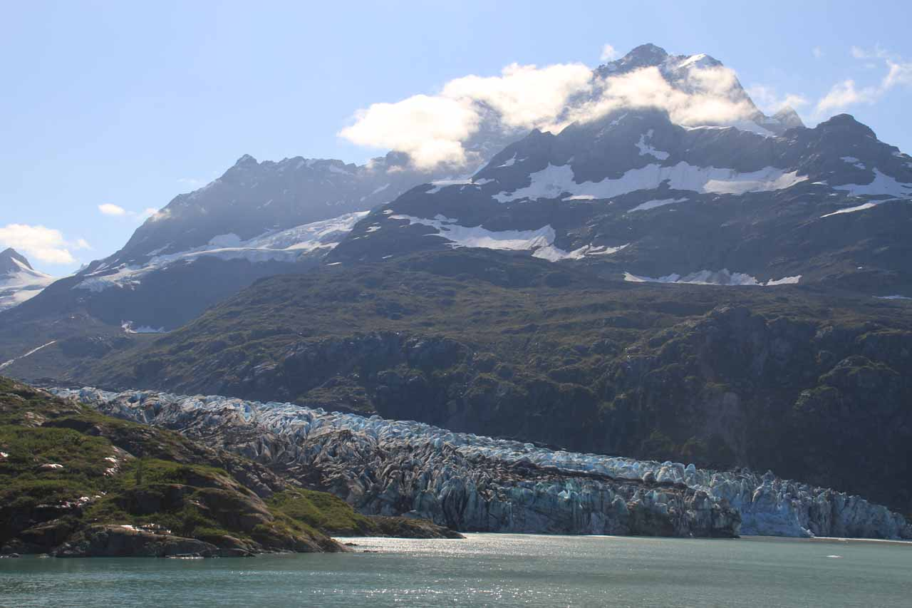 Lamplugh Glacier starting to reveal itself