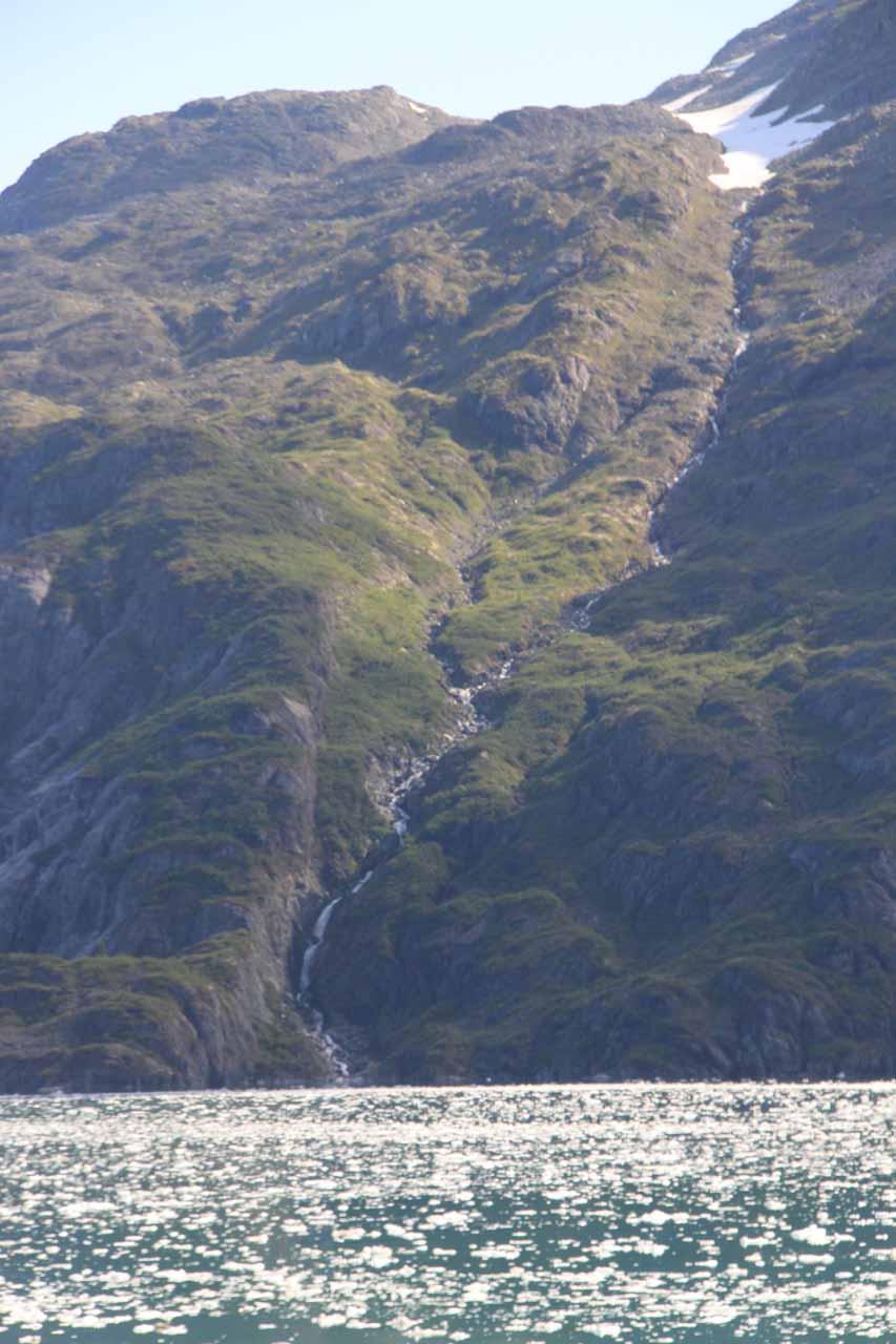 A thin cascade somewhere near the Lamplugh Glacier