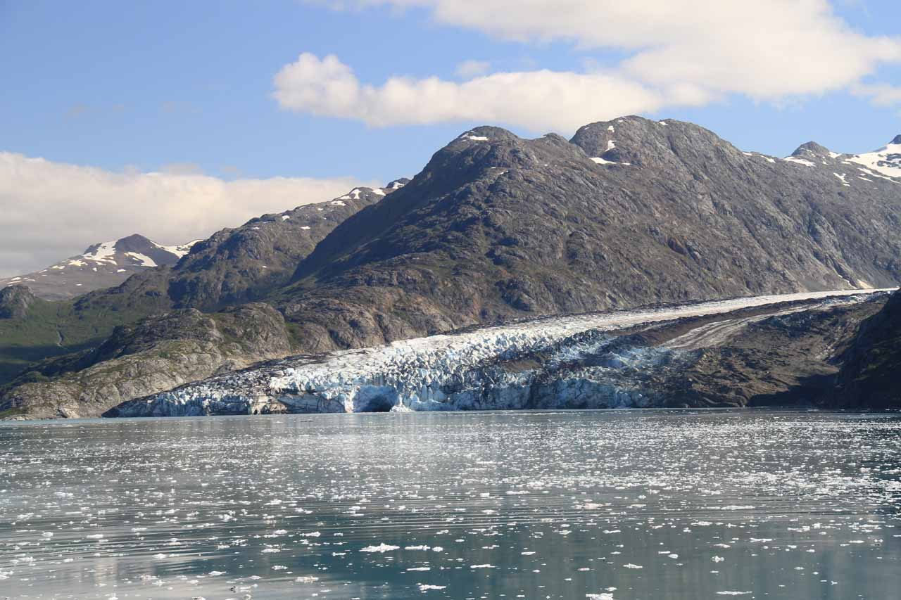 Looking across the passage fronted by small ice chunks towards Lamplugh Glacier
