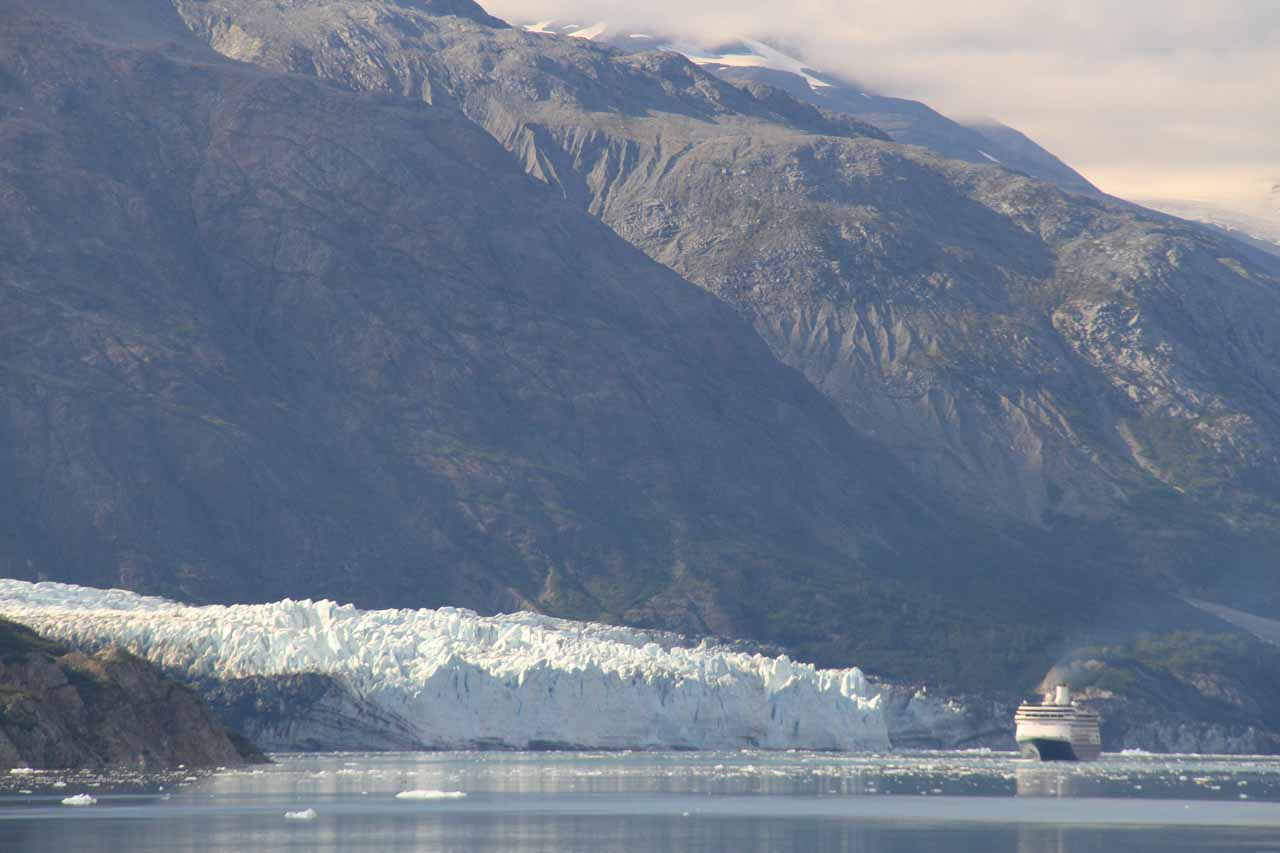 Another cruise ship dwarfed by the terminus of Marjerie Glacier