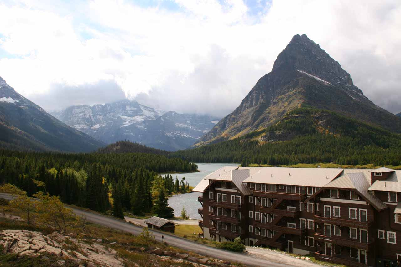 Looking over Many Glacier Hotel and Swiftcurrent Lake backed by shapely mountains
