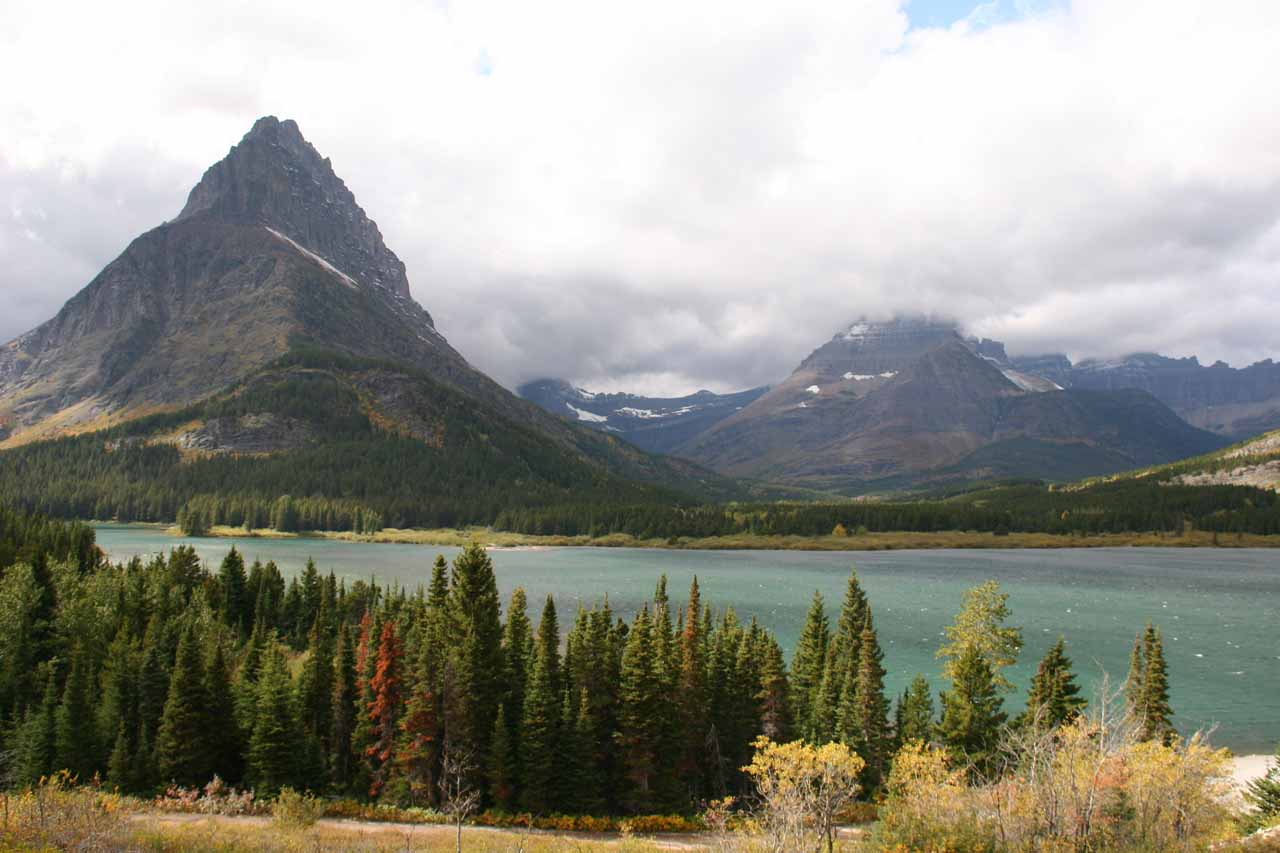 The attractive Swiftcurrent Lake as seen from Many Glacier Hotel