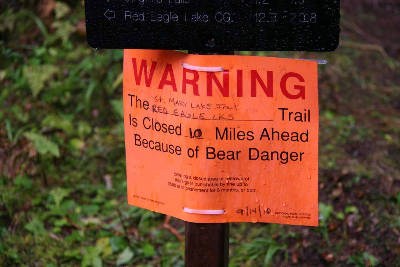 Sign warning of bear closure ahead