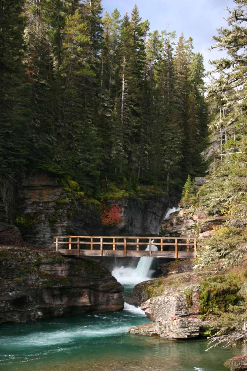 Looking ahead towards the footbridge before the falls