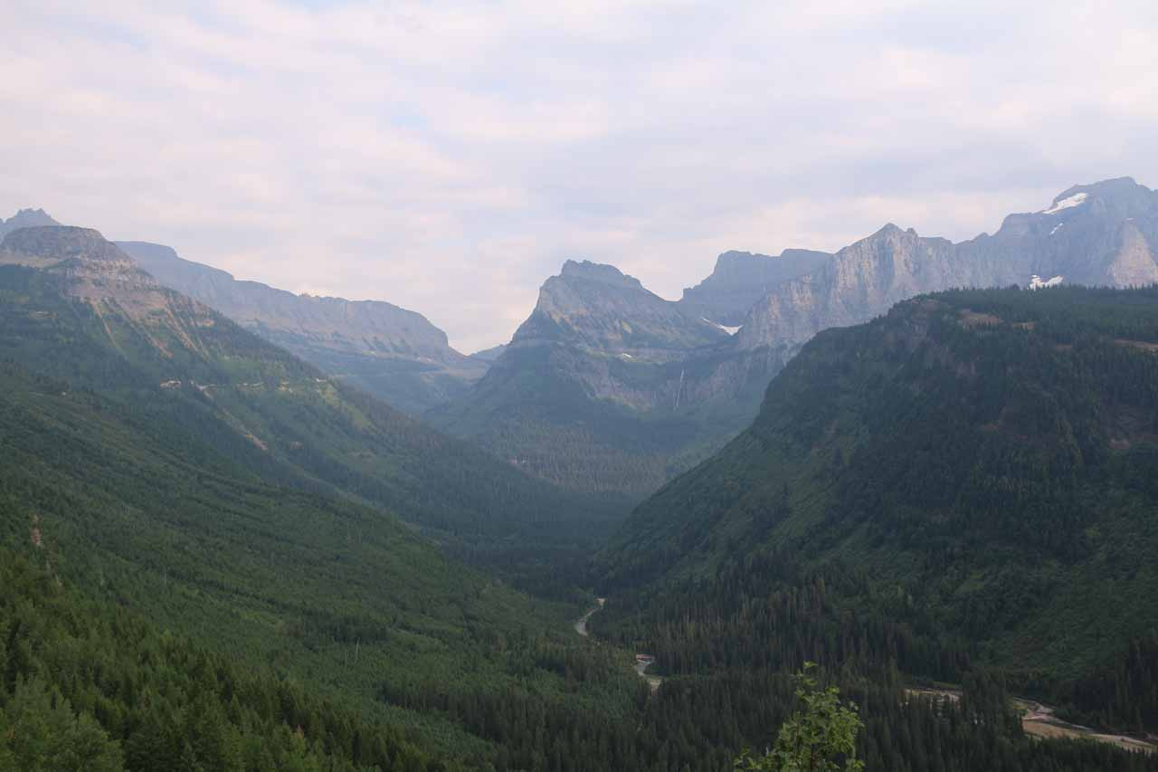 Further up the Going-to-the-Sun Road from Sacred Dancing Cascade, the road rises and presented some very dramatic views of the glaciated U-shaped valley left behind at the end of the last Ice Age