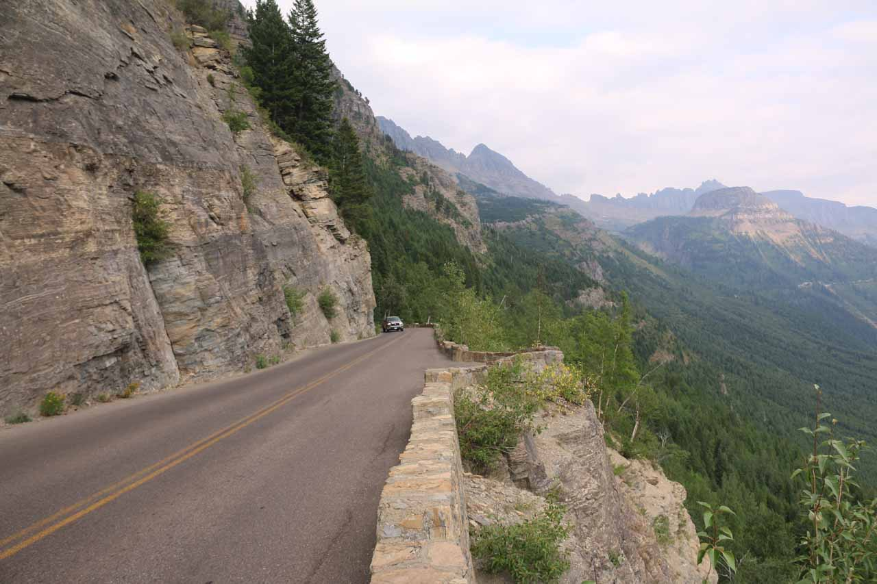 Looking east on the Going-to-the-Sun Road from one of the first pullouts with a view of Bird Woman Falls. Notice how narrow the road is, which is precisely why longer vehicles can't do this road