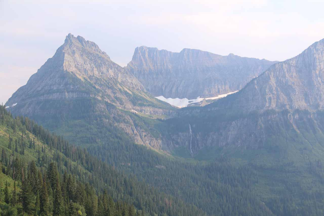 Panoramic look at the Bird Woman Falls from the signposted lookout