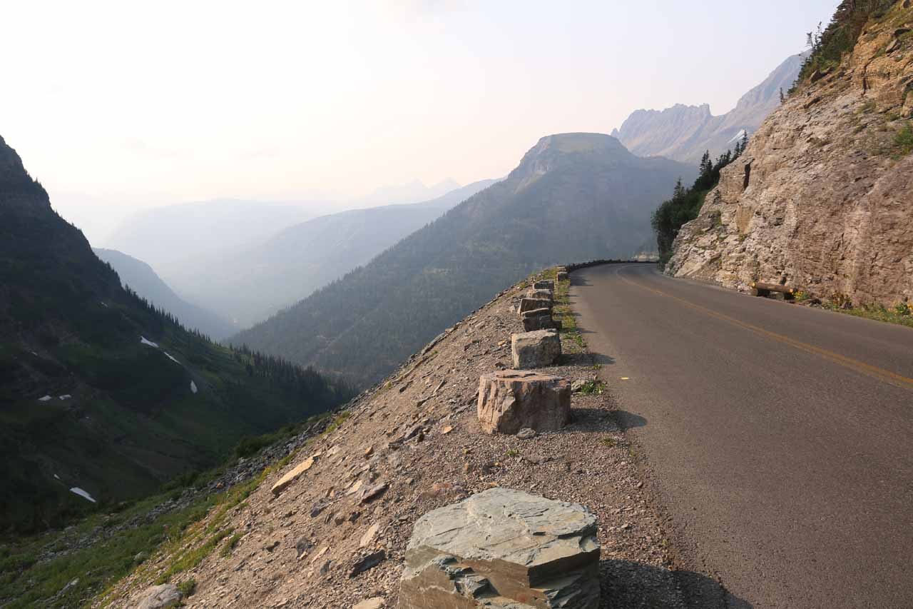 Heading west on the Going-to-the-Sun Road west of Logan Pass