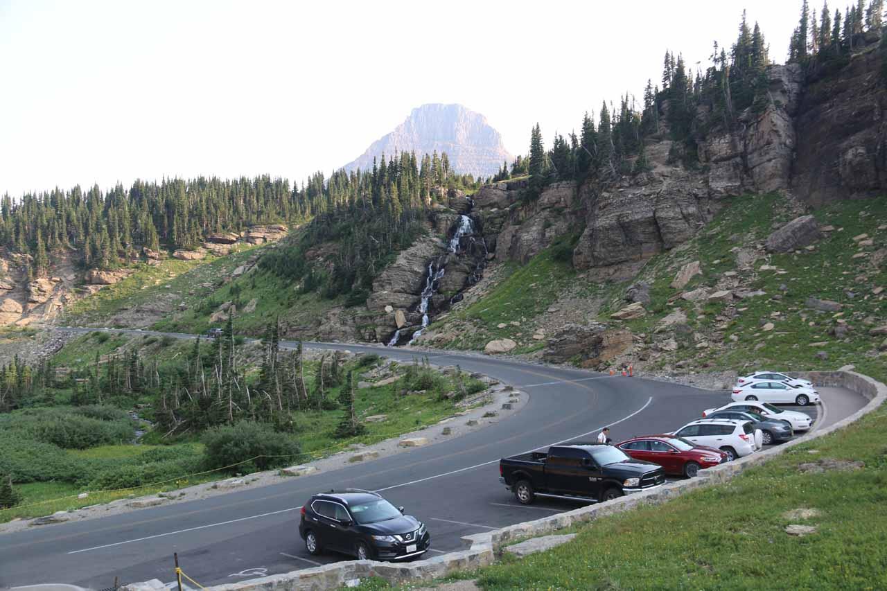 Contextual look back towards the upper drop of Oberlin Falls