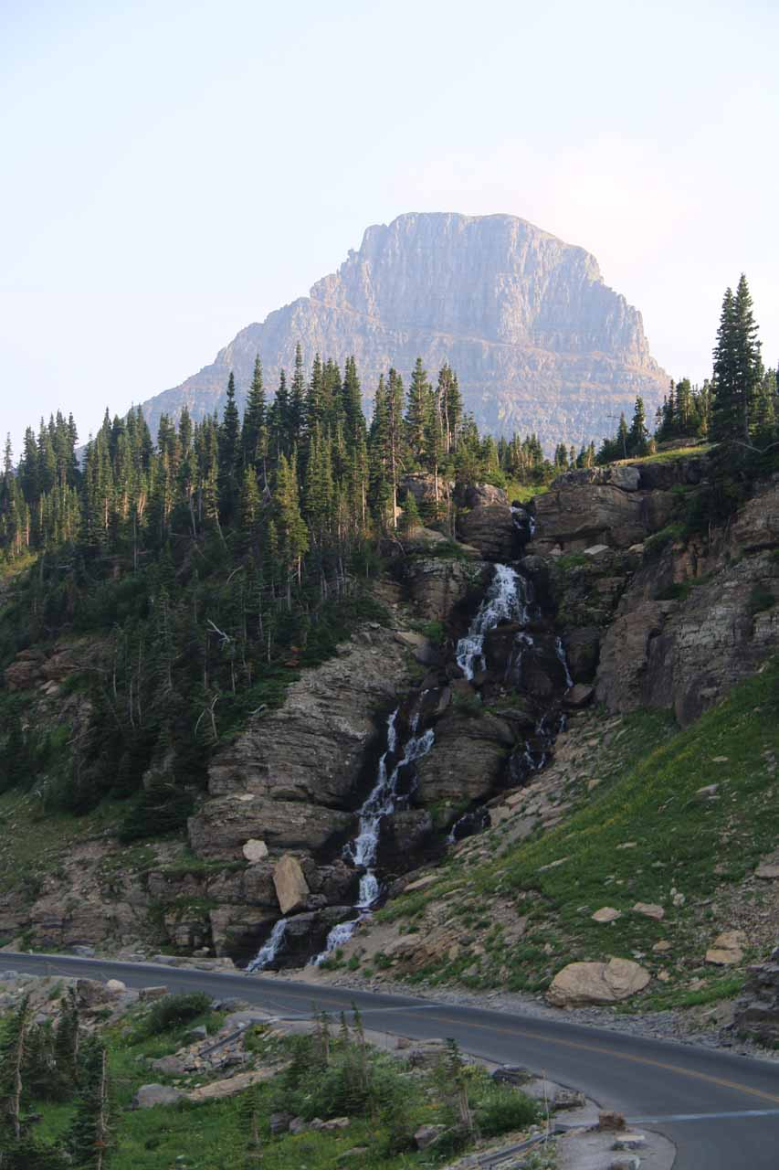 Continuing west from Logan Pass, this was a cascade that spilled right by the Going-to-the-Sun Road at Oberlin Bend.  I believe this to be an upper tier of Oberlin Falls