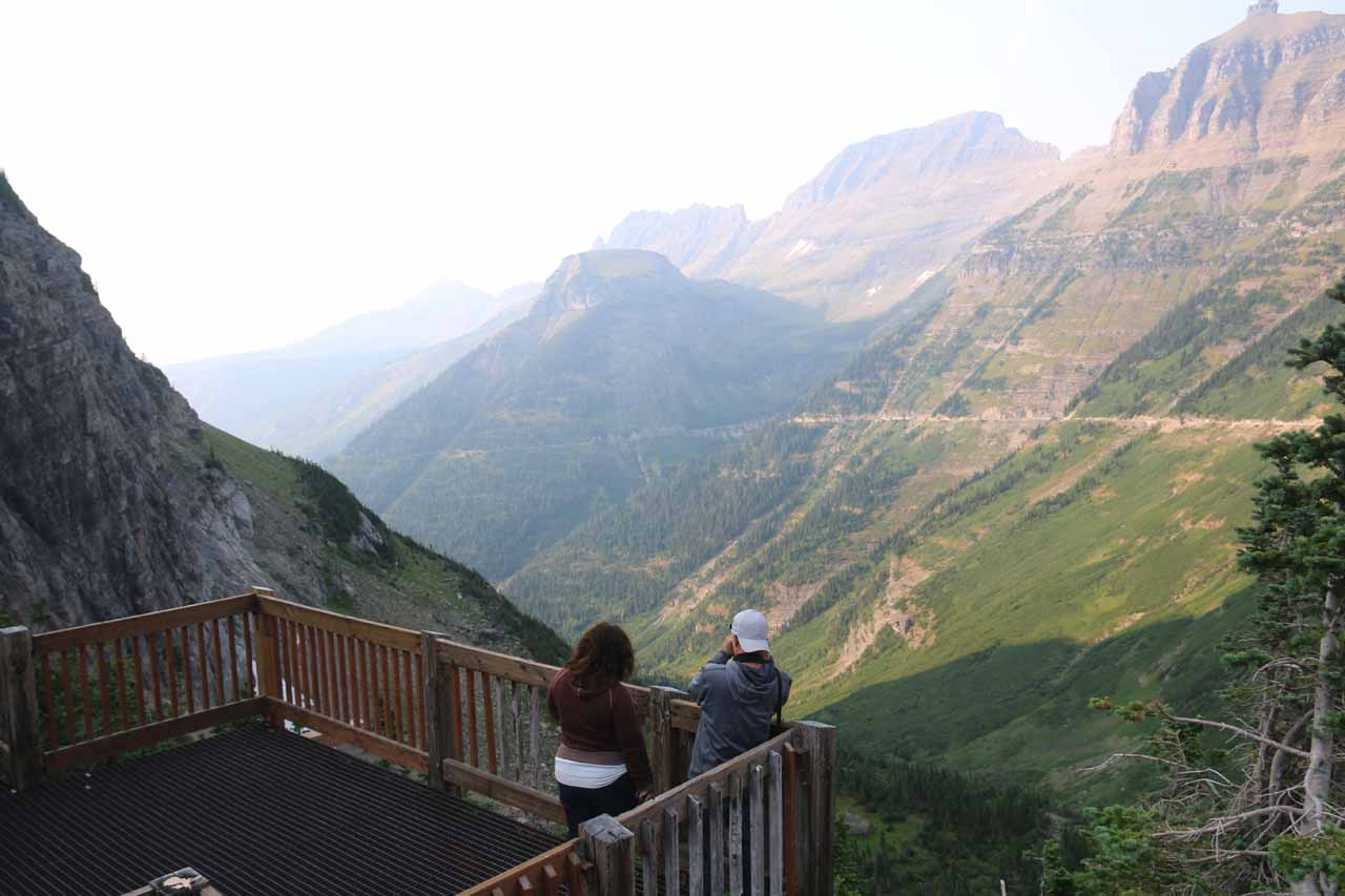 This was a lookout peering west into the steepest parts of the canyon west of Logan Pass.  The park literature recognizes this viewpoint as part of the Oberlin Bend
