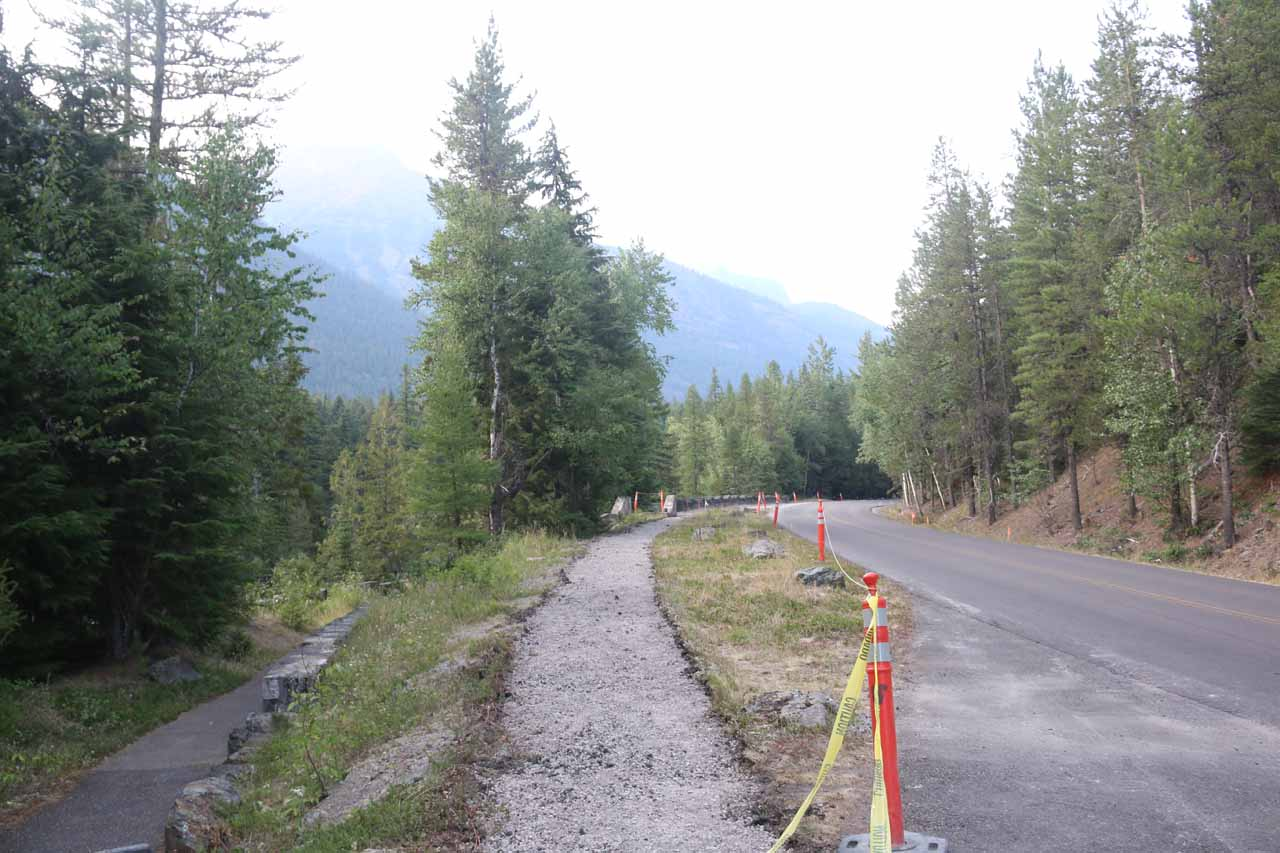 This was the context of the short trail and roadside pullout by the McDonald Falls