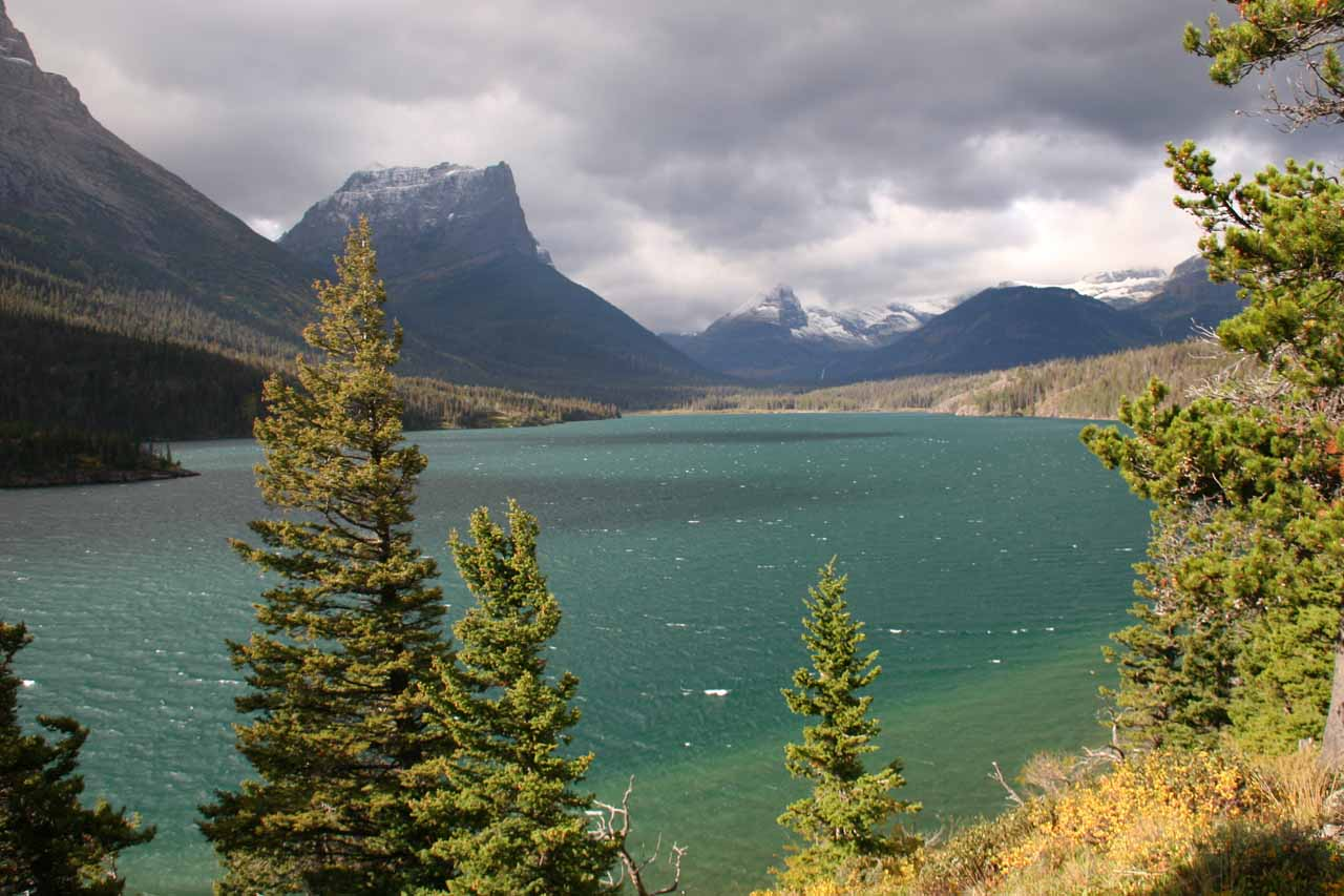 Further east along St Mary Lake was Sun Point, which was where we got this gorgeous view of St Mary Lake and the surrounding mountains under a clearing storm in September 2010