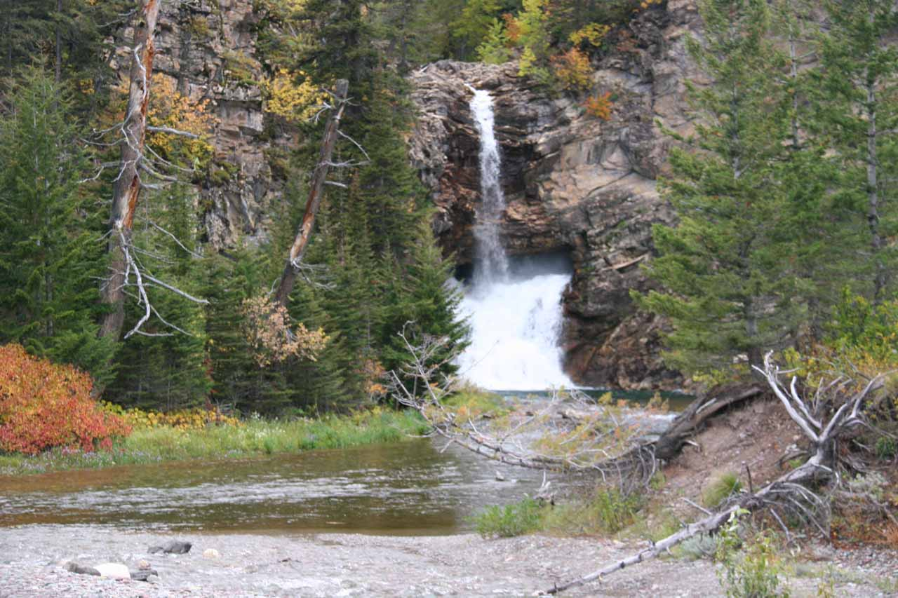 View of Running Eagle Falls from the bench
