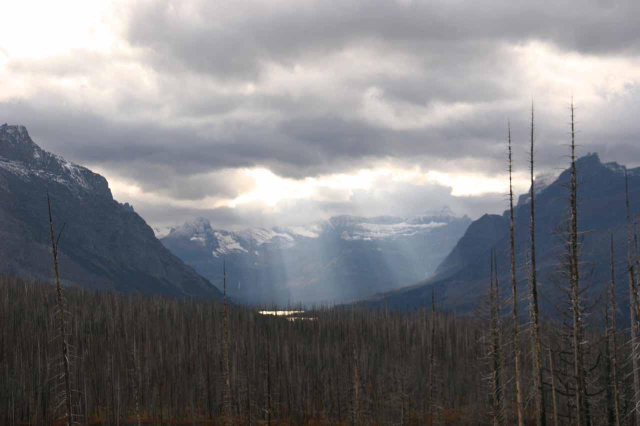 God beams as we looked towards the Rockies