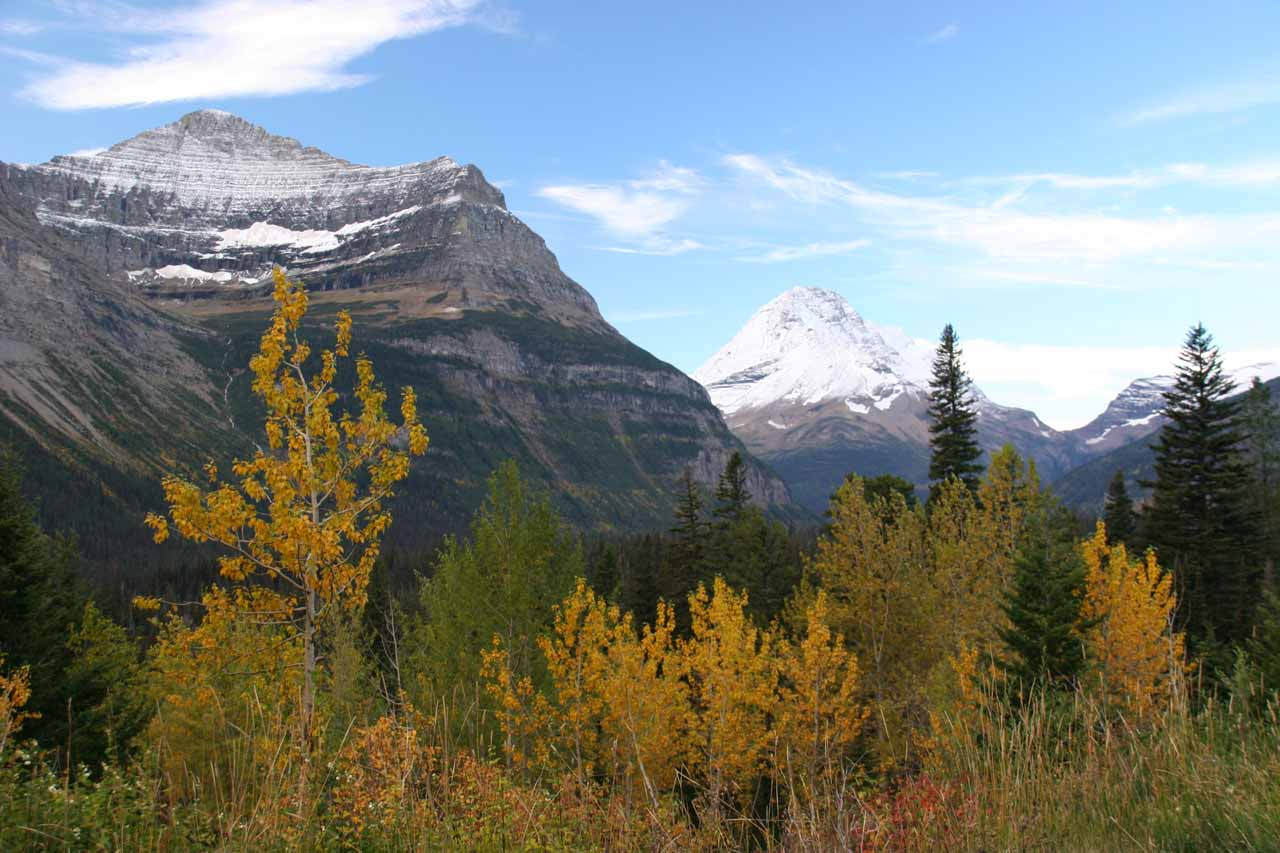 Gorgeous mountains surrounding us fronted by some Autumn colors
