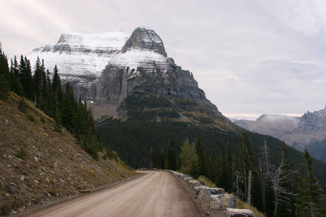 Looking east on the Going-to-the-Sun Road while it was unpaved and undergoing some road work in September 2010
