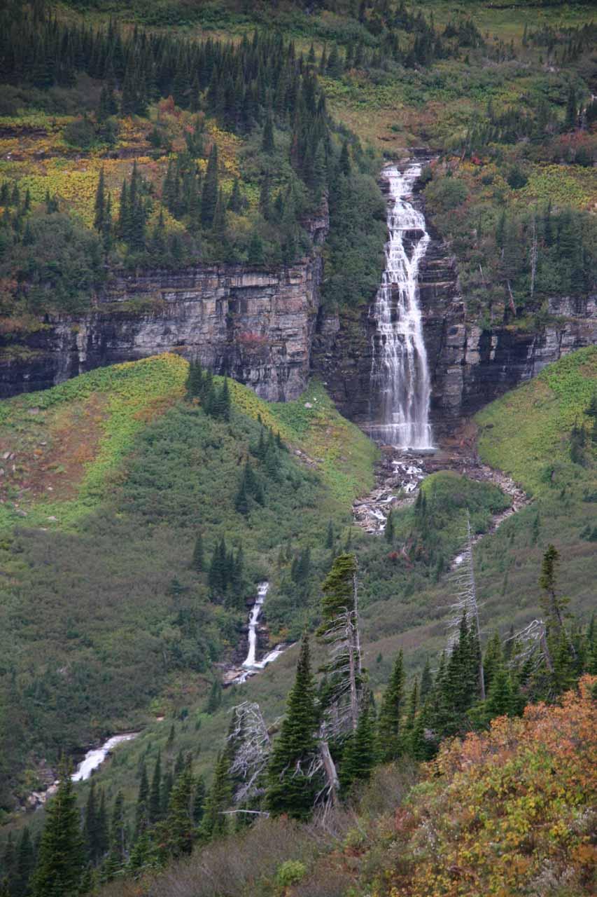 A dramatic waterfall near Logan Pass