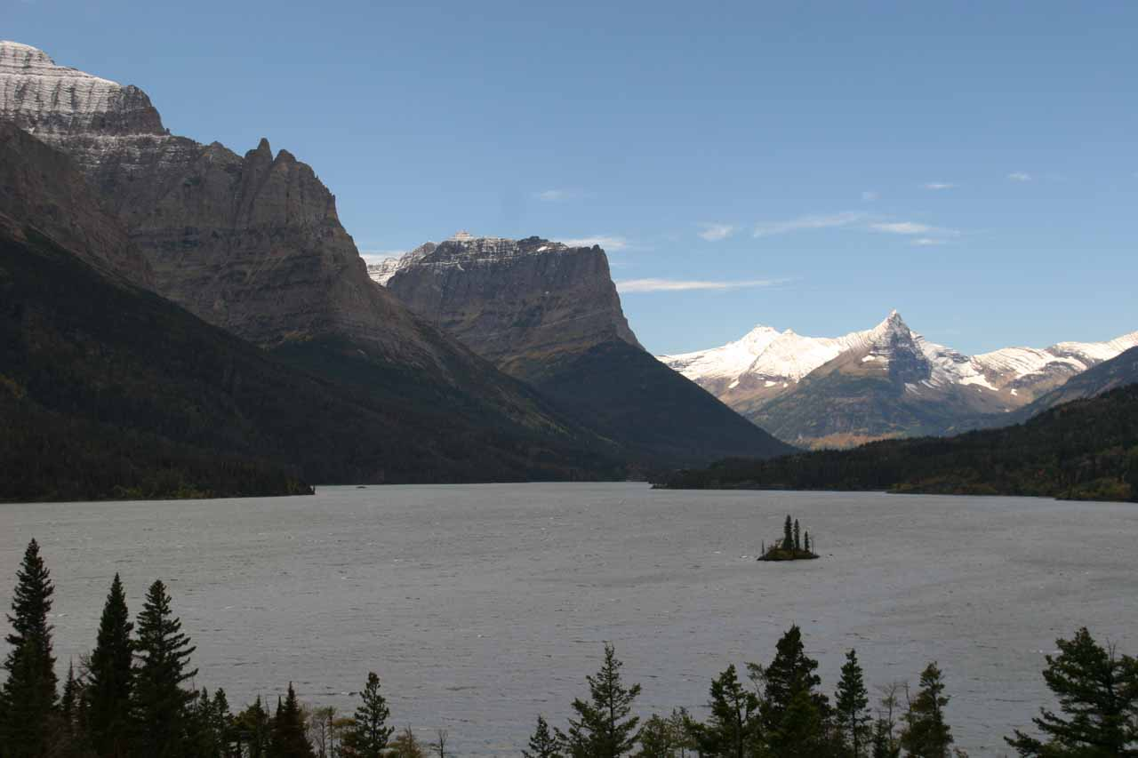 Seemingly the main part of Glacier National Park was on the Going-to-the-Sun Road east of Logan Pass, where we got this view of Wild Goose Island on St Mary Lake