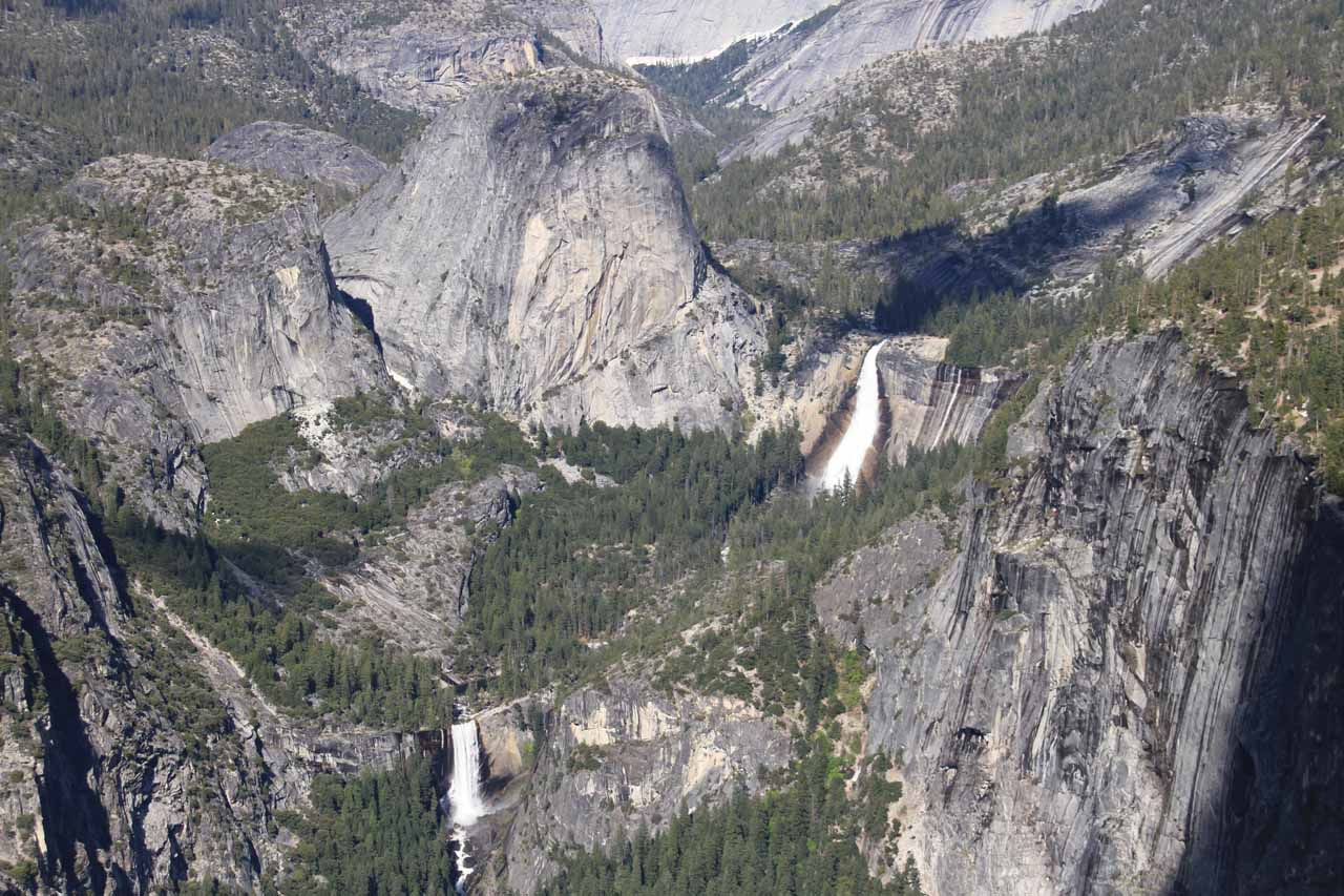 Vernal Fall and Nevada Fall (aka the Giant Stairway) seen from Washburn Point in 2011
