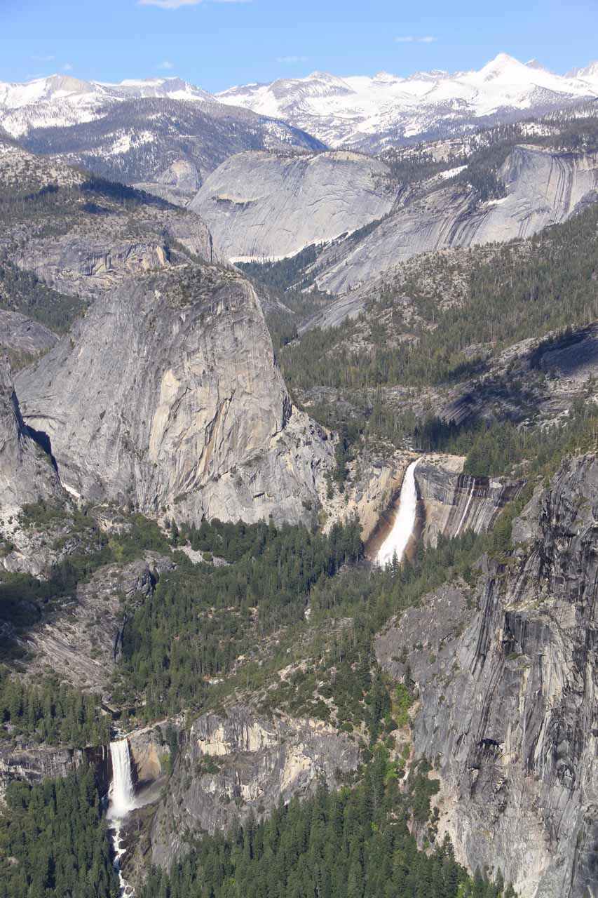 Nevada Fall and Vernal Fall comprising the Giant Stairway seen from Washburn Point near Glacier Point