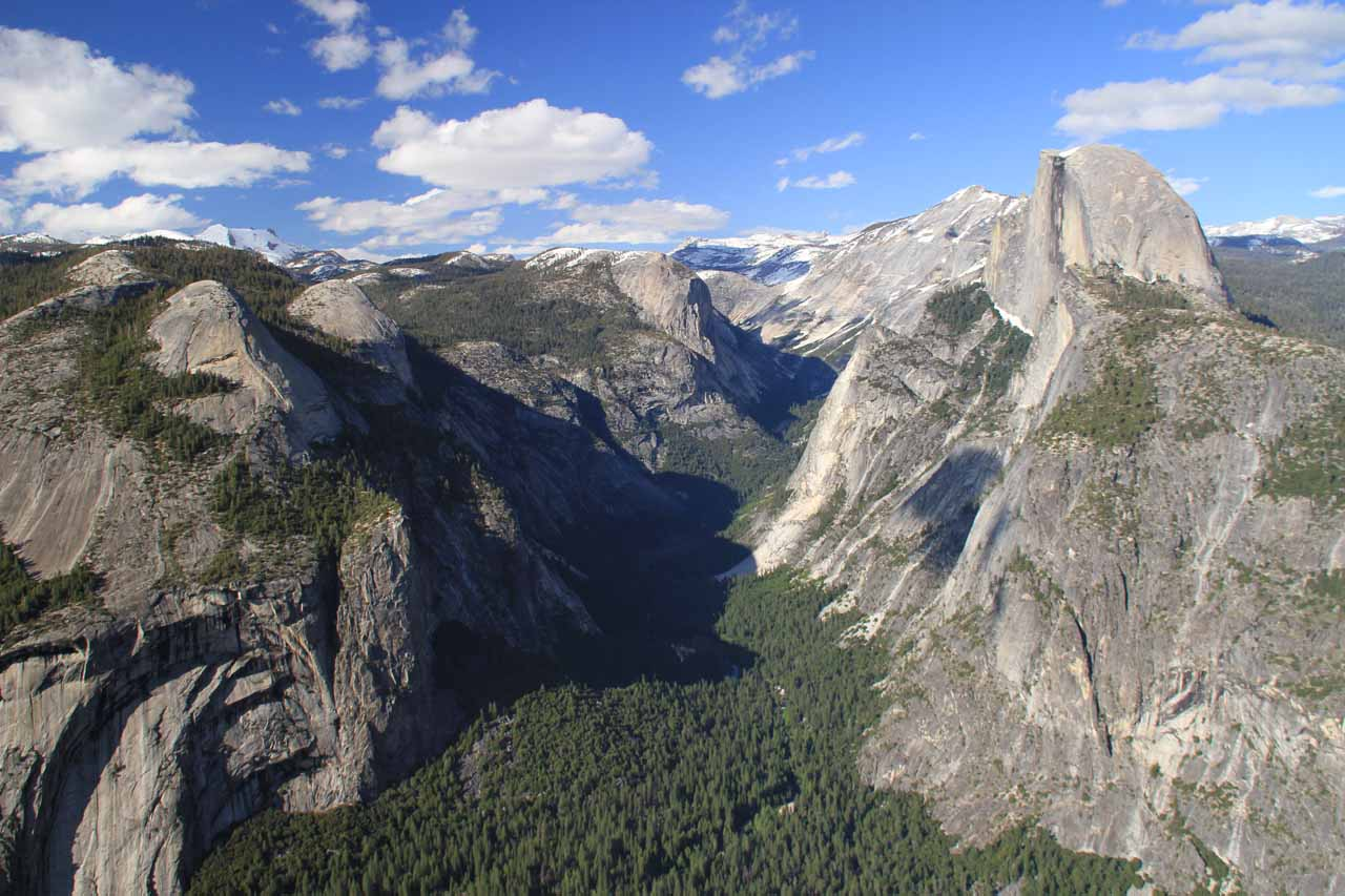 One of the popular places to see Yosemite Falls (as well as Half Dome) from nearly eye level was from Glacier Point, where we also got to peer right into the rugged Tenaya Canyon