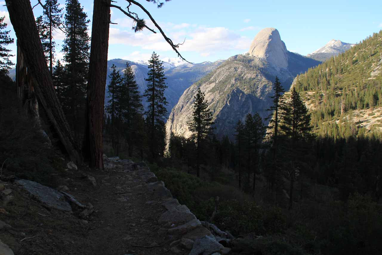 Looking back along the trail towards the backside of Half Dome