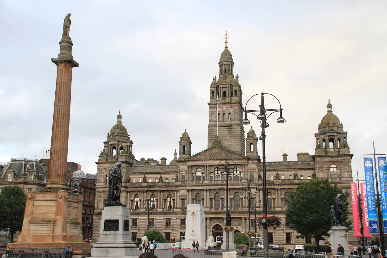 Roughly 71 miles southwest of Aberfeldy was Glasgow, which had its own energetic vibe and sense of charm as shown here at the grand St George Square