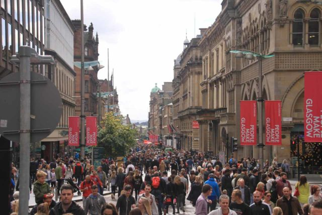 Glasgow_244_08302014 - Roughly 28 miles northwest of New Lanark was Glasgow, which had its own energetic vibe and sense of charm; perhaps best exemplified by its Style Mile (Buchanan Street) to answer Edinburgh's Royal Mile