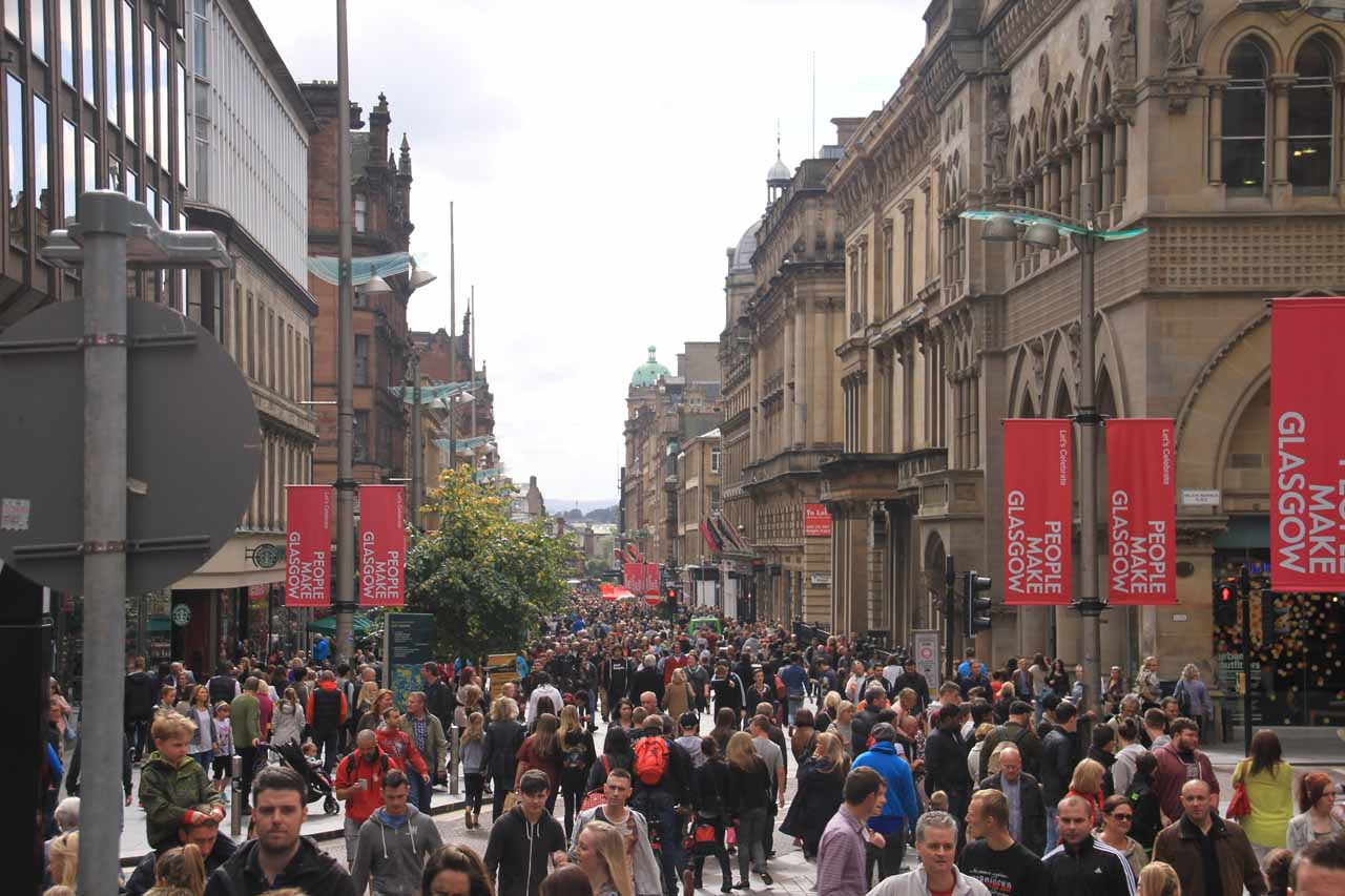 Roughly 28 miles northwest of New Lanark was Glasgow, which had its own energetic vibe and sense of charm; perhaps best exemplified by its Style Mile (Buchanan Street) to answer Edinburgh's Royal Mile