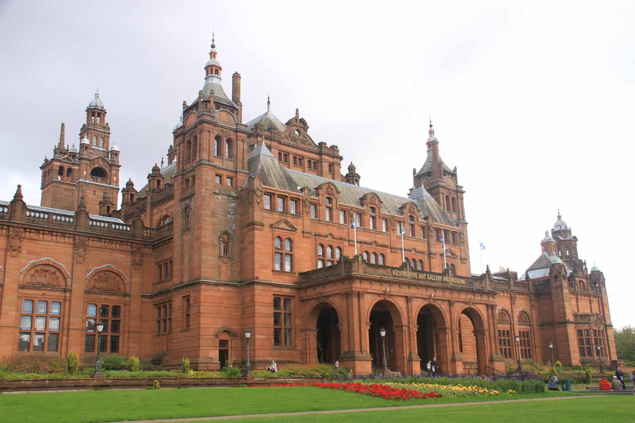 Just over 47 miles from the Falls of Falloch was the city of Glasgow, which featured the Style Mile, the Necropolis, and even the attractive Kelvingrove Museum (shown here), which Tahia enjoyed a lot