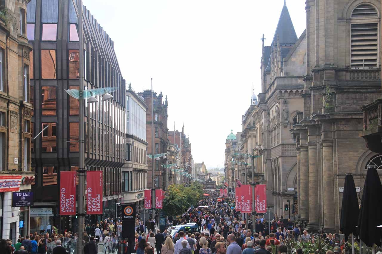Roughly 84 miles southwest of Pitlochry was Glasgow, which had its own energetic vibe and sense of charm as shown here at the Style Mile of Buchanan Street