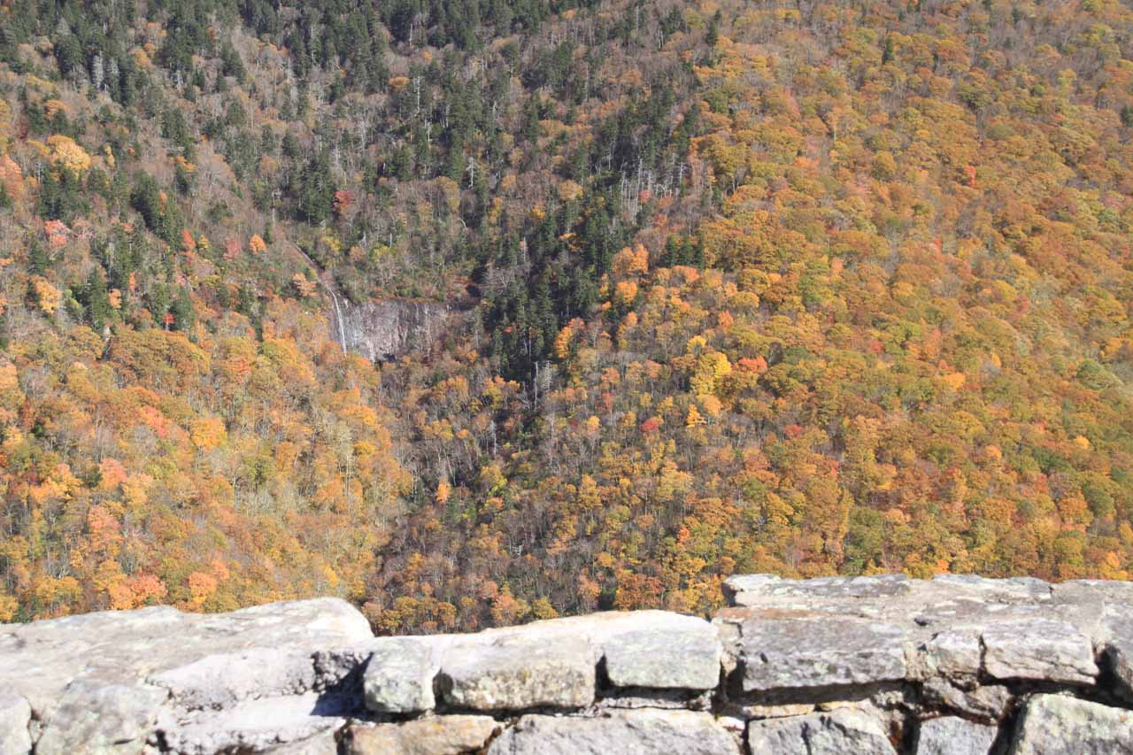 The falls starting to get smaller as we zoom out from the overlook