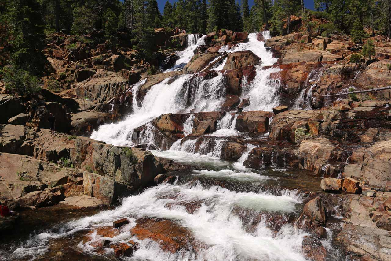 Broad look at the impressive Glen Alpine Falls in early Summer flow