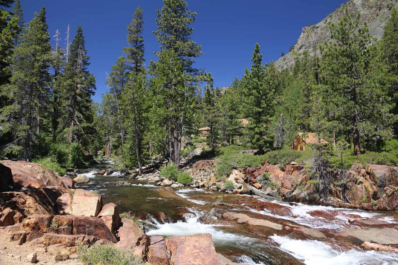 Looking further upstream along Glen Alpine Creek from the Glen Alpine Falls