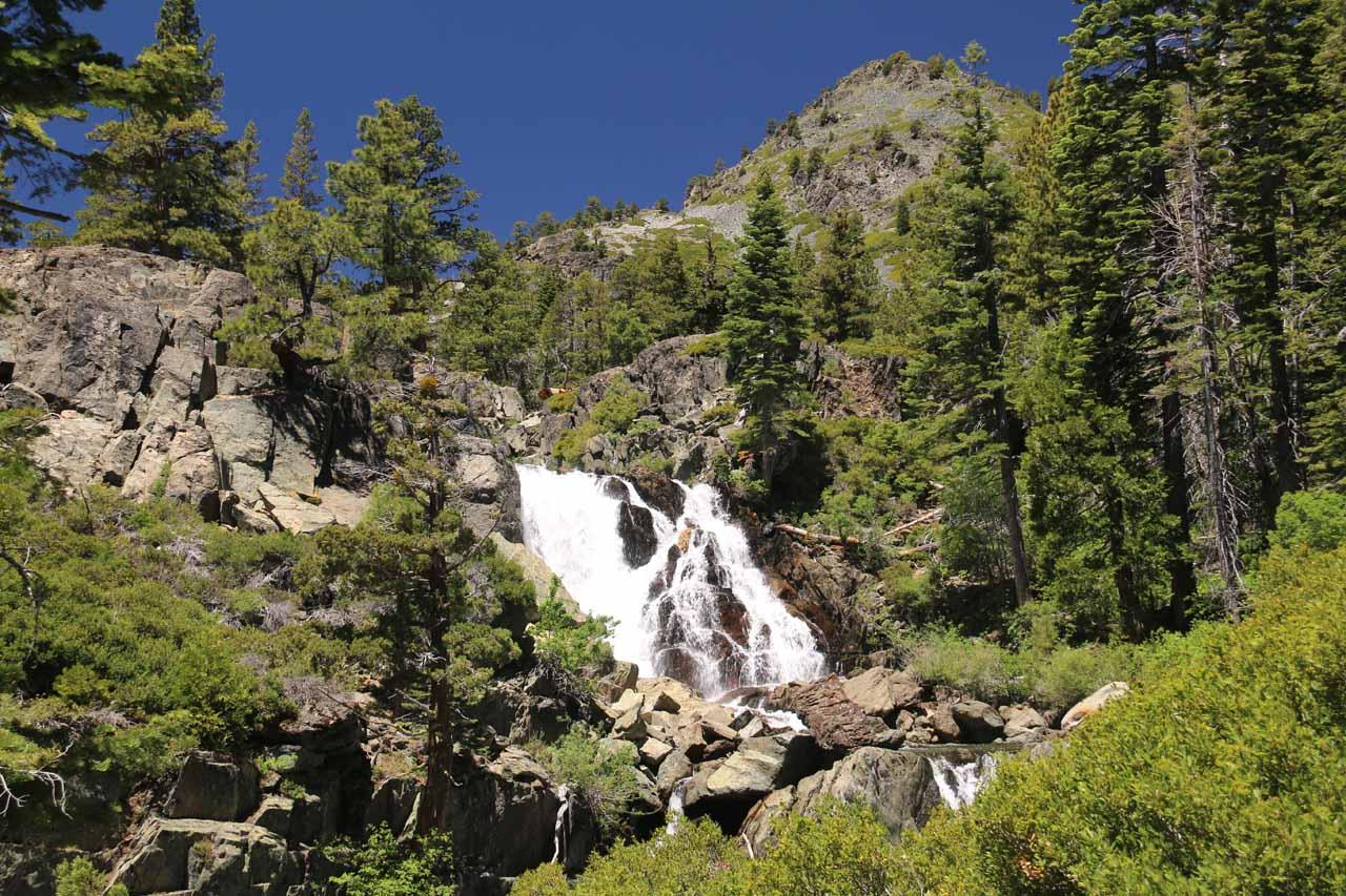 Contextual look at Modjeska Falls (Upper Glen Alpine Falls) in nearly peak flow