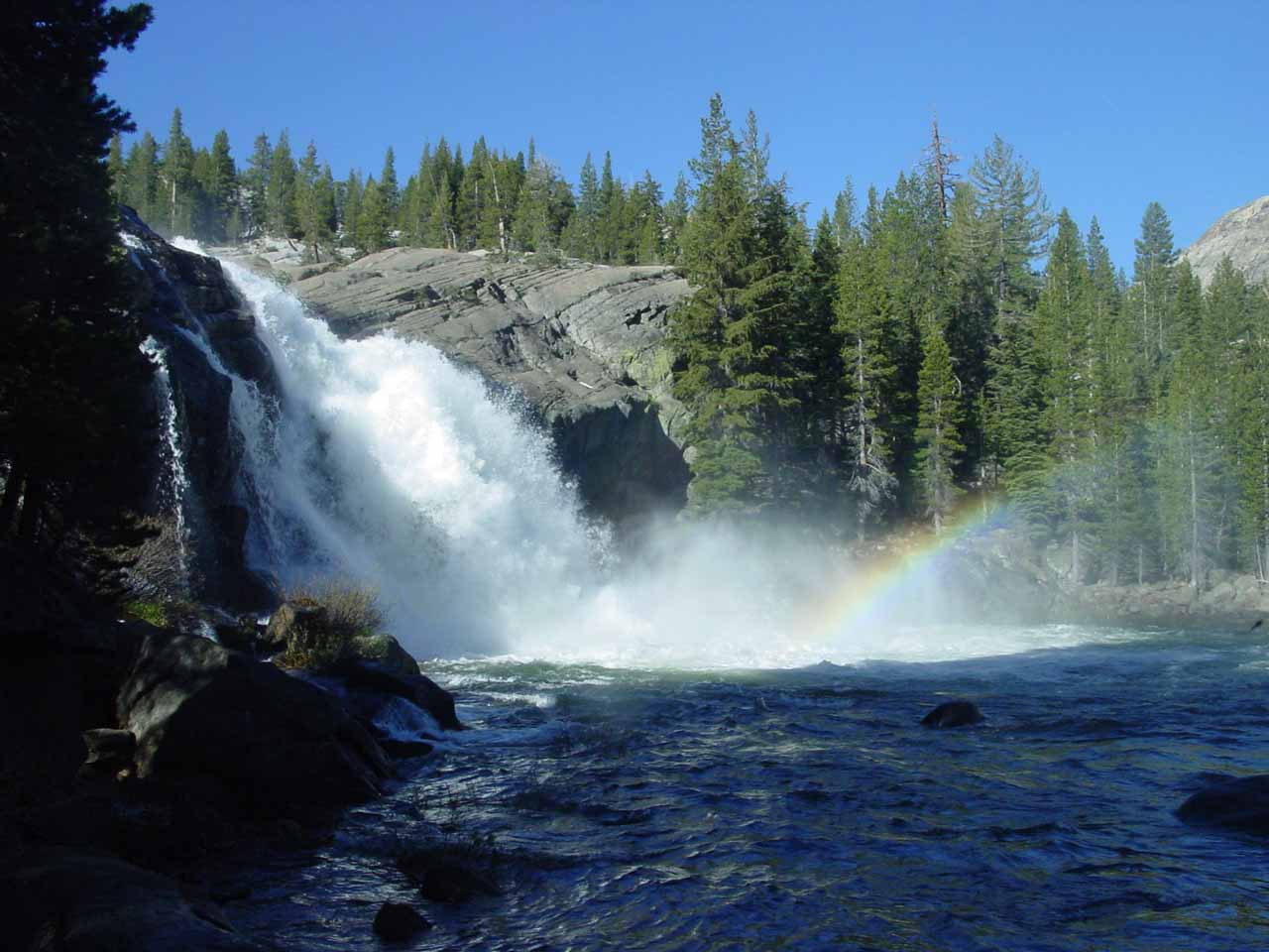 Morning rainbow at the White Cascade (or Glen Aulin Falls)
