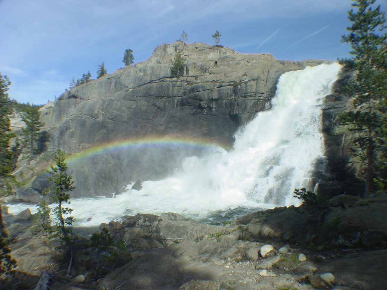 Another look at Tuolumne Falls and rainbow