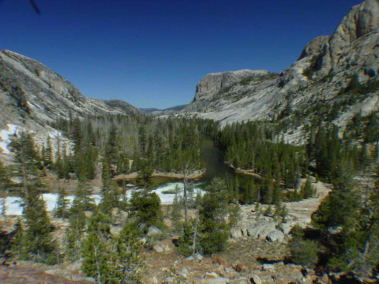 Panoramic view of the Tuolumne River just downstream from the Glen Aulin High Sierra Camp