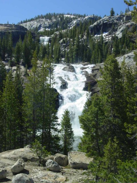 Glen_Aulin_camp_009_05302004 - Looking back at the full height of the White Cascade and a hint of Tuolumne Falls from an outcrop near the Glen Aulin High Sierra Camp