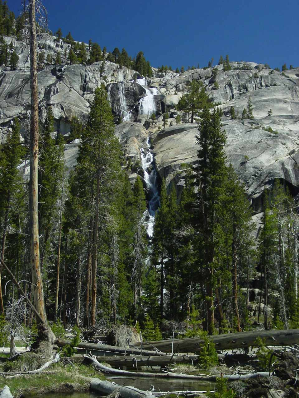 Unnamed falls responsible for flooding Waterwheel Falls Trail