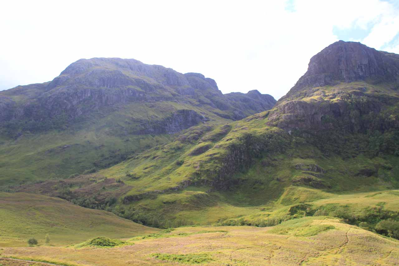 In decent weather, Glencoe Valley is very scenic as shown here with two of the three sisters seen opposite the valley from the A82 road
