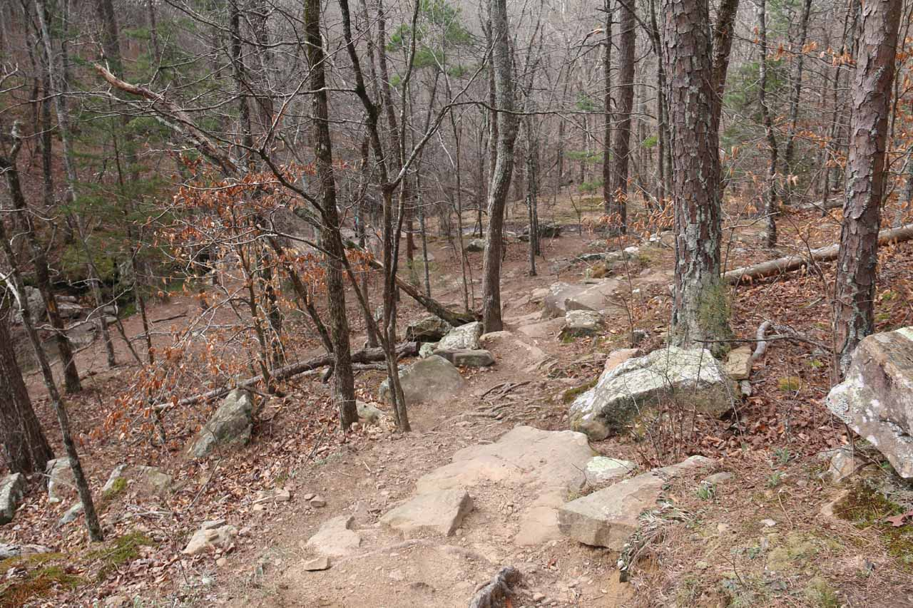 Continuing on the main trail. Shown here is where the trail descended right to the top of the Glory Hole