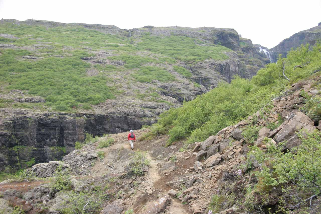 Beyond the steep part of the trail with Glymur up ahead