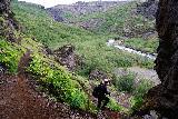 Glymur_037_08052021 - Mom descending beneath Thvottahellir and eventually approaching the banks of the Botnsa